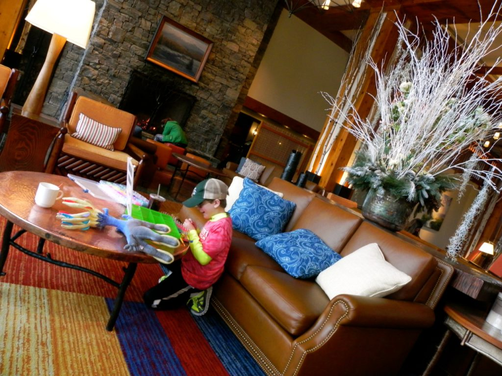 The lobby at Stowe Mountain Lodge is like a very large living room