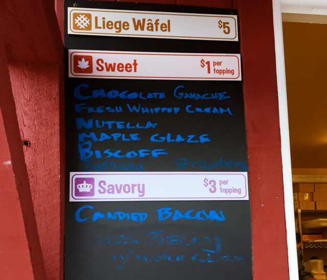 Wafel Shack Menu Sugarbush