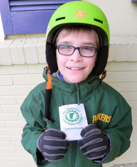 Teddy can't wait to use his Ski Vermont Fifth Grade Passport