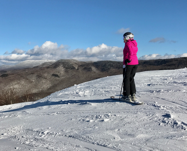 Contemplating the view (or perhaps my youth) at the Middlebury Snow Bowl