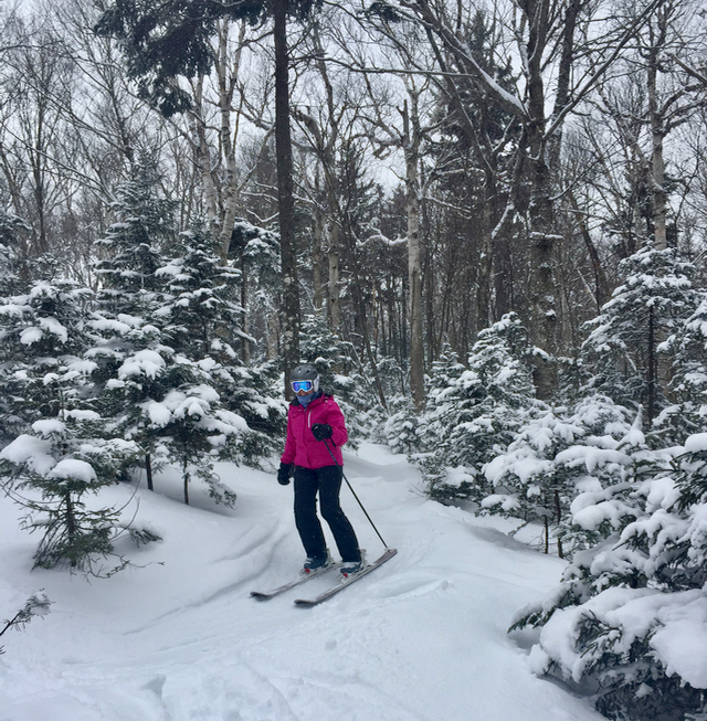 Mama Mara made the most of her chances to ski in the trees