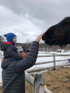 Petting the horses at Mountain Top
