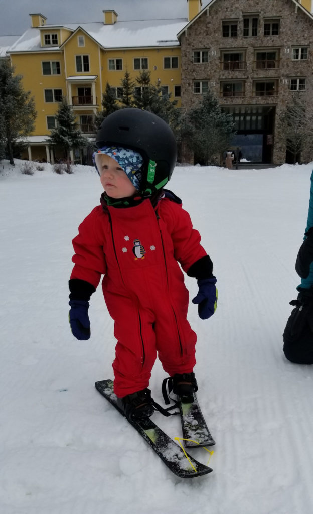 Toddler on skis at Okemo