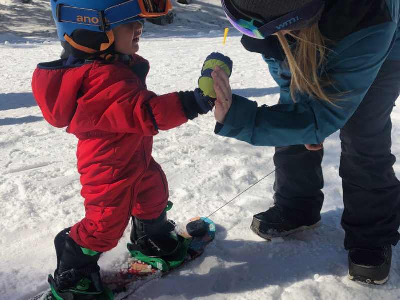 Sliding Sideways with Toddler Snowboard Lessons